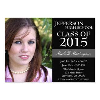 "Two-Tone Graduation Invitations (Black) 5"" X 7"" Invitation Card"