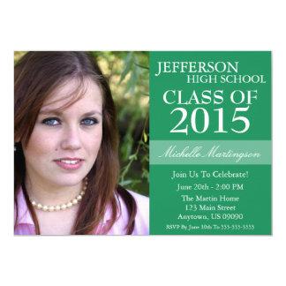 "Two-Tone Graduation Invitations (Green) 5"" X 7"" Invitation Card"