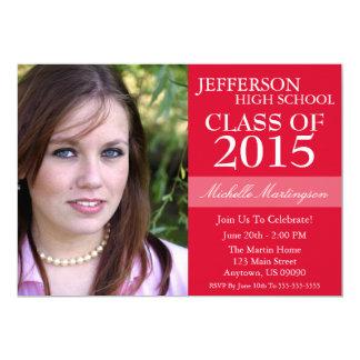 """Two-Tone Graduation Invitations (Red) 5"""" X 7"""" Invitation Card"""