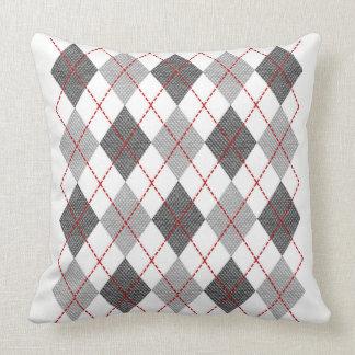 Two Tone Grey Argyle Diamond Design Cushion