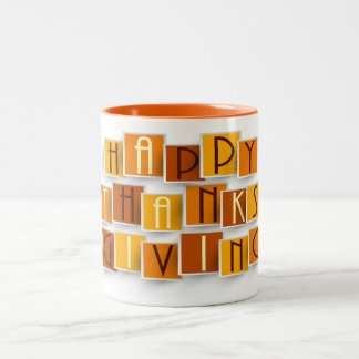 Two Tone Happy Thanksgiving Mug Block Lettering