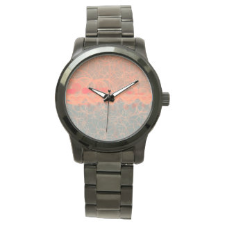 Two-tone Peach and Light Blue Circle Pattern Watch