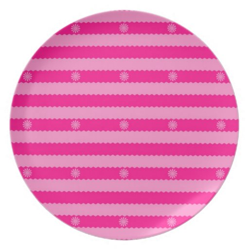 Two Tone Pink Bright Stripes and Flowers Plate