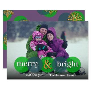 Two Tone Polka Dot Merry And Bright Christmas Card 13 Cm X 18 Cm Invitation Card