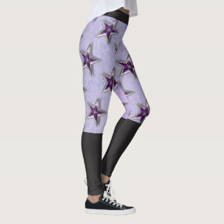 Two-Tone Purple & Black Yoga Leggings