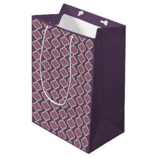 Two-Tone Purple Moroccan Quatrefoil Gift Bag