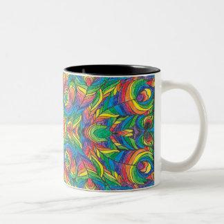 Two tone rainbow coffee mug