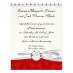 two tone red damask personalized invite
