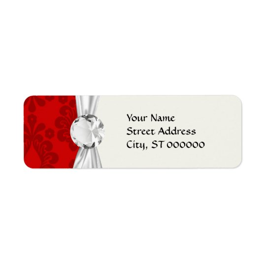 two tone red damask return address label