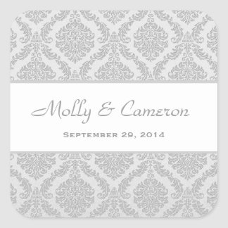 Two Tone Silver Gray Damask  Wedding V79 Square Sticker