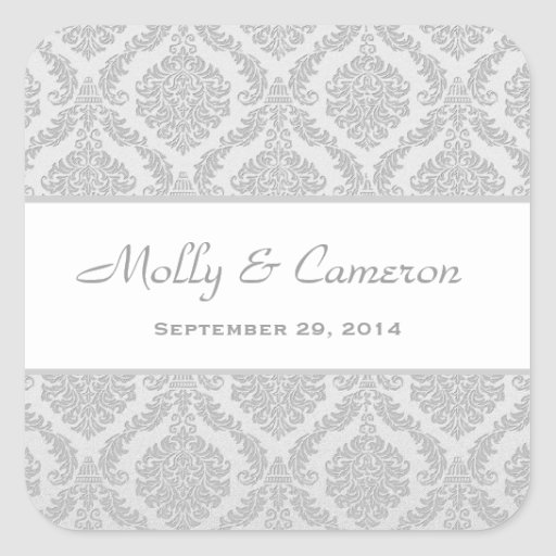 Two Tone Silver Gray Damask  Wedding V79 Stickers