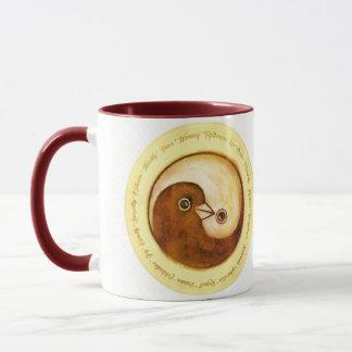Two tone styled mugYin Yang peace doves Mug