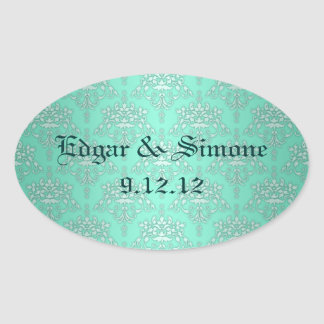 Two Tone Teal Turquoise Damask Oval Sticker
