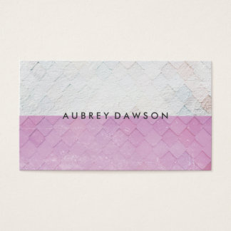 Two Tone White Pink Tile Grunge Pattern Business Card