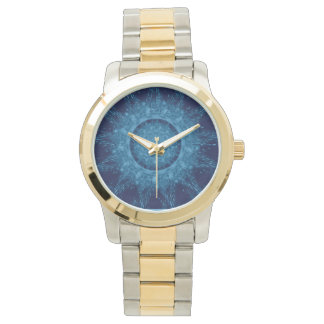 Two-Tone with Gold/Silver Tone Watch Blue Design