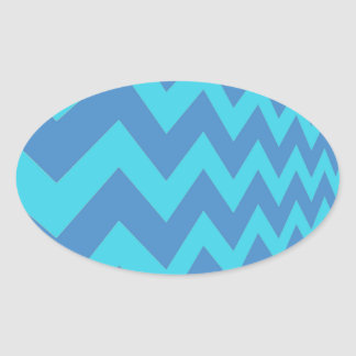 Two Toned Blue Chevron Oval Sticker