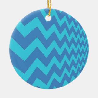 Two Toned Blue Chevron Round Ceramic Decoration