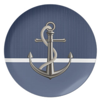 Two-toned Blue Pinstriped Anchor Plates