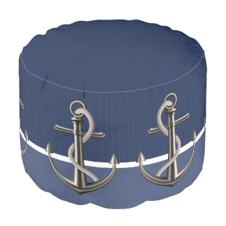 Two-toned Blue Pinstriped Anchor Round Pouffe