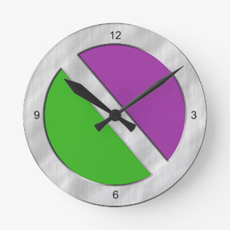 Two-Toned Green and Purple Round Clock