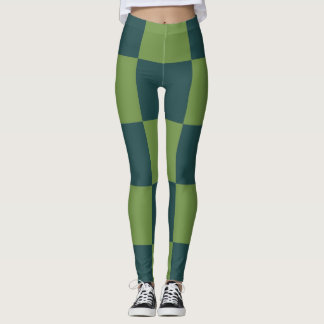 Two Toned Green Checkerboard Leggings