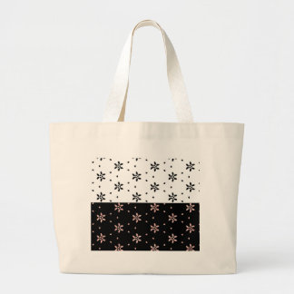 Two Toned Multi-Flower Pattern Large Tote Bag