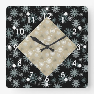 Two Toned Snowflakes Square Wall Clock