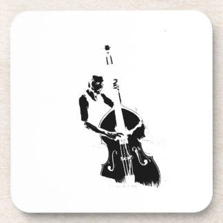 Two Toned Upright Bass Player Outline BW Coaster