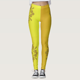 Two toned yellow and orange large flowers Leggings