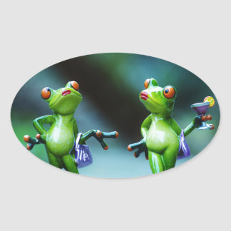 Two Too Sexy Green Lady Frogs Stickers