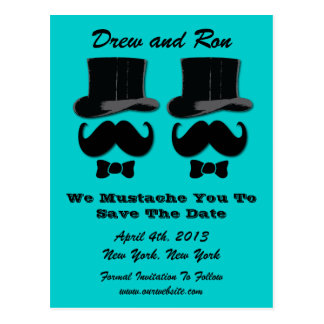 Two Top Hats With Mustache Save The Date Card Postcard