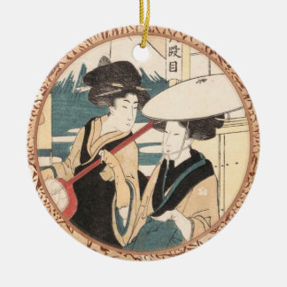 Two Tori-oi, or Itinerant Women Musicians Japan Double-Sided Ceramic Round Christmas Ornament