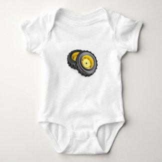 Two tractor wheels baby bodysuit