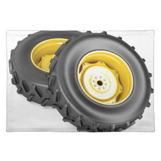 Two tractor wheels placemat