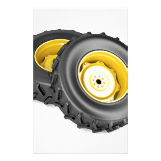 Two tractor wheels stationery