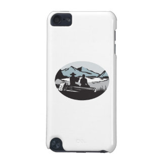 Two Trampers Sitting on Log Lake Mountain Oval Woo iPod Touch 5G Cases