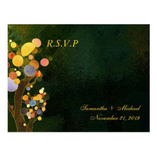 Two Trees in Dark Green Wedding RSVP Postcard