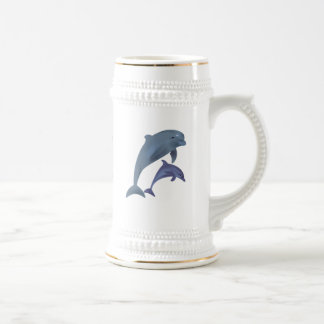 Two Tropical dolphins jumping beside each other Beer Stein