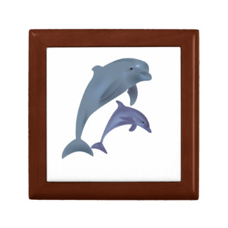 Two Tropical dolphins jumping beside each other Gift Box