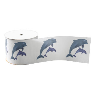 Two Tropical dolphins jumping beside each other Grosgrain Ribbon