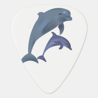 Two Tropical dolphins jumping beside each other Guitar Pick