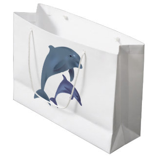 Two Tropical dolphins jumping beside each other Large Gift Bag