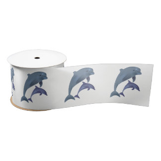 Two Tropical dolphins jumping beside each other Satin Ribbon