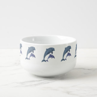 Two Tropical dolphins jumping beside each other Soup Mug