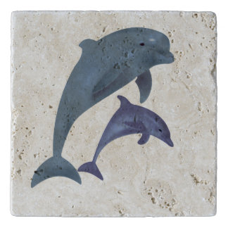 Two Tropical dolphins jumping beside each other Trivet