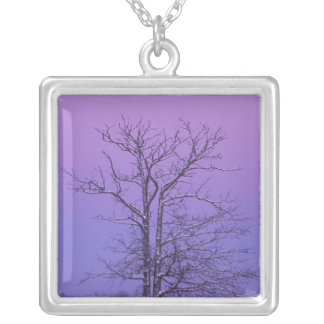 Two Trunked Tree at Sunrise; Chippewa County, Square Pendant Necklace