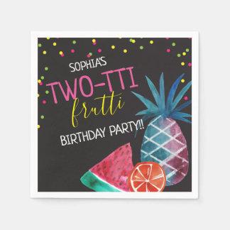 Two-tti Frutti Watercolor 2nd Birthday Party Paper Serviettes