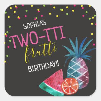 Two-tti Frutti Watercolor 2nd Birthday Party Square Sticker