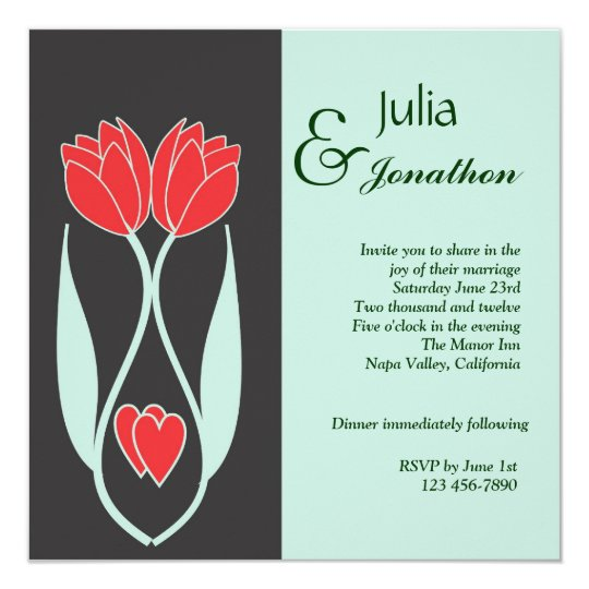 Two Tulips Art Nouveau Style Wedding Invitation