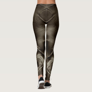 Two Tulips Flower Abstract in Brown Leggings